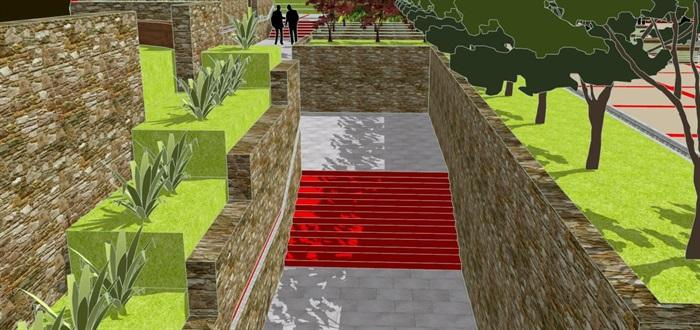 现代风格小型社区活动广场设计SU模型(4)