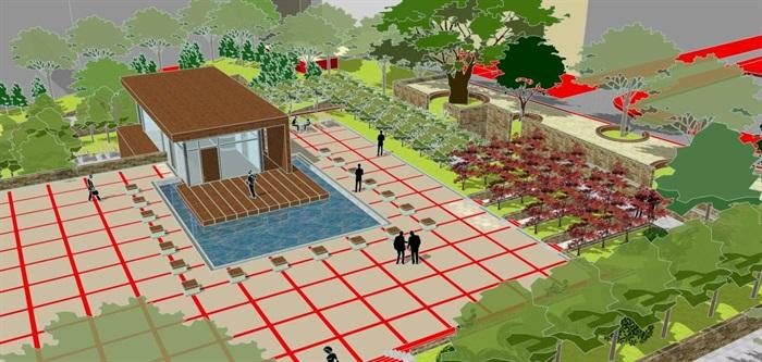 现代风格小型社区活动广场设计SU模型(5)