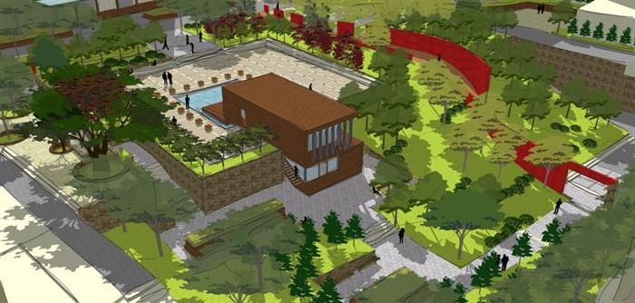 现代风格小型社区活动广场设计SU模型(7)