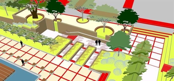 现代风格小型社区活动广场设计SU模型(8)