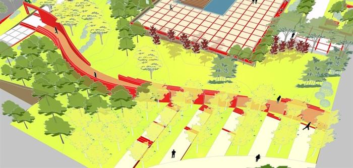 现代风格小型社区活动广场设计SU模型(9)