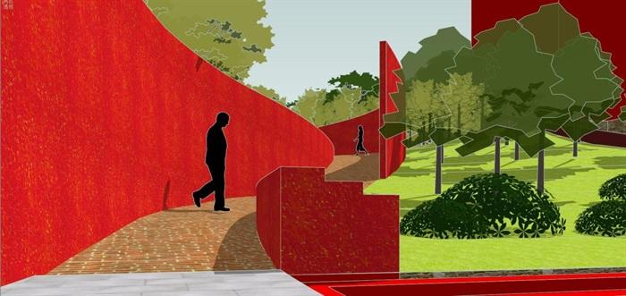 现代风格小型社区活动广场设计SU模型(10)
