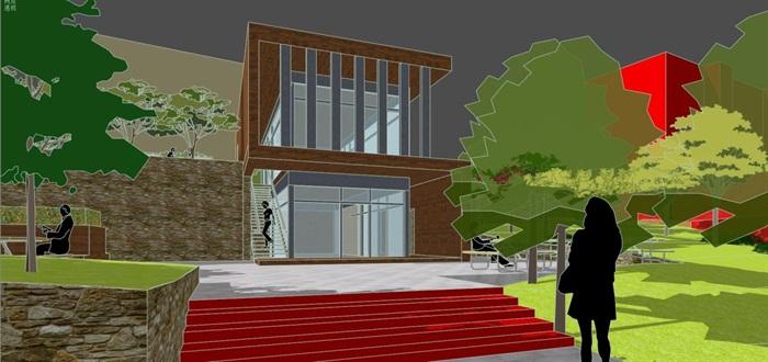 现代风格小型社区活动广场设计SU模型(11)