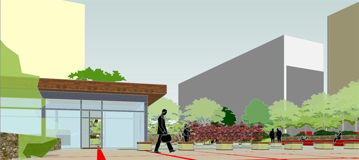 现代风格小型社区活动广场设计SU模型(14)