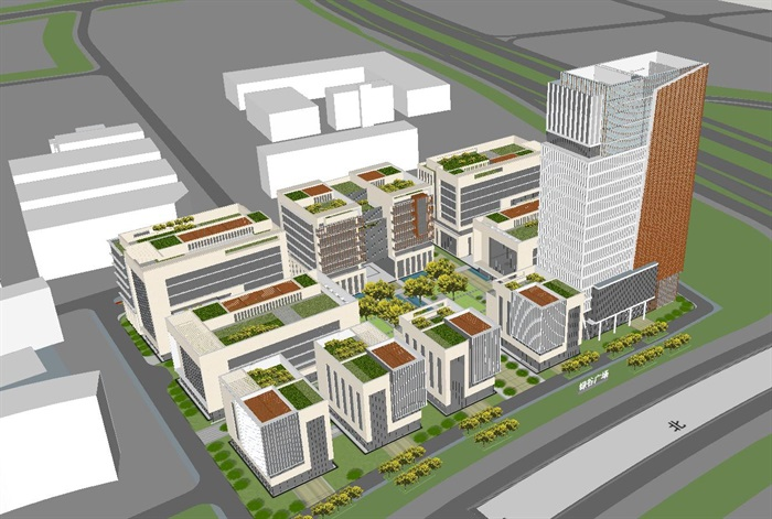 现代风格绿谷广场SU模型(1)