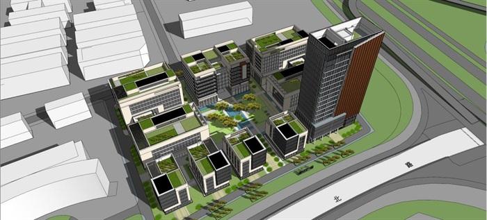 现代风格绿谷广场SU模型(2)