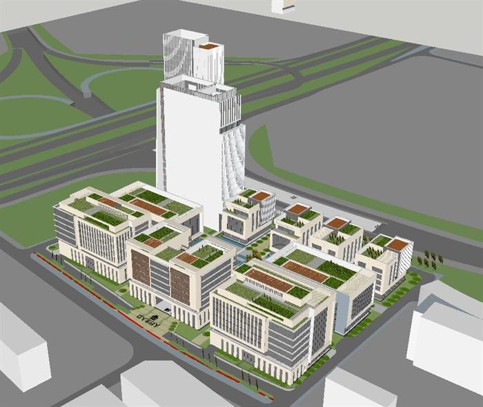 现代风格绿谷广场SU模型(7)