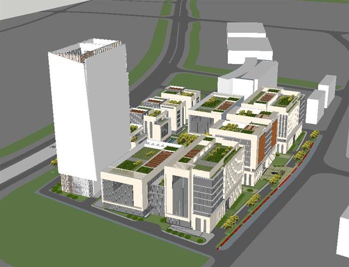 现代风格绿谷广场SU模型(12)