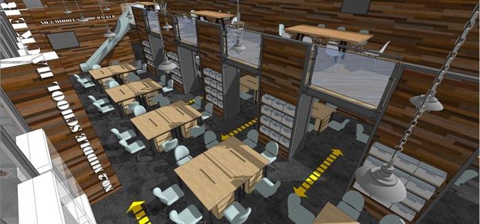 现代风格LOFT办公室装潢SU模型(2)