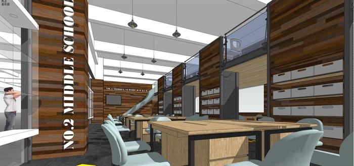 现代风格LOFT办公室装潢SU模型(4)