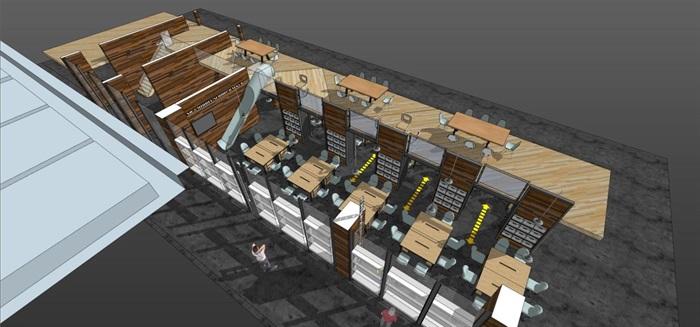 现代风格LOFT办公室装潢SU模型(5)