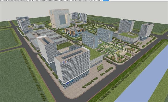 现代风格科技园办公区SU模型(1)