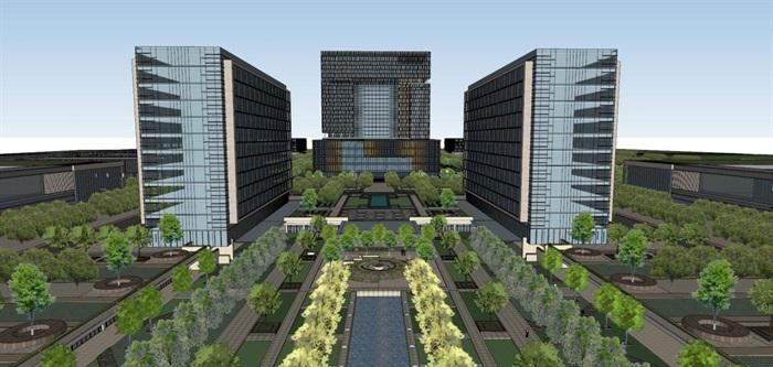 现代风格科技园办公区SU模型(2)