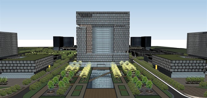 现代风格科技园办公区SU模型(3)
