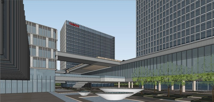 现代风格科技园办公区SU模型(5)