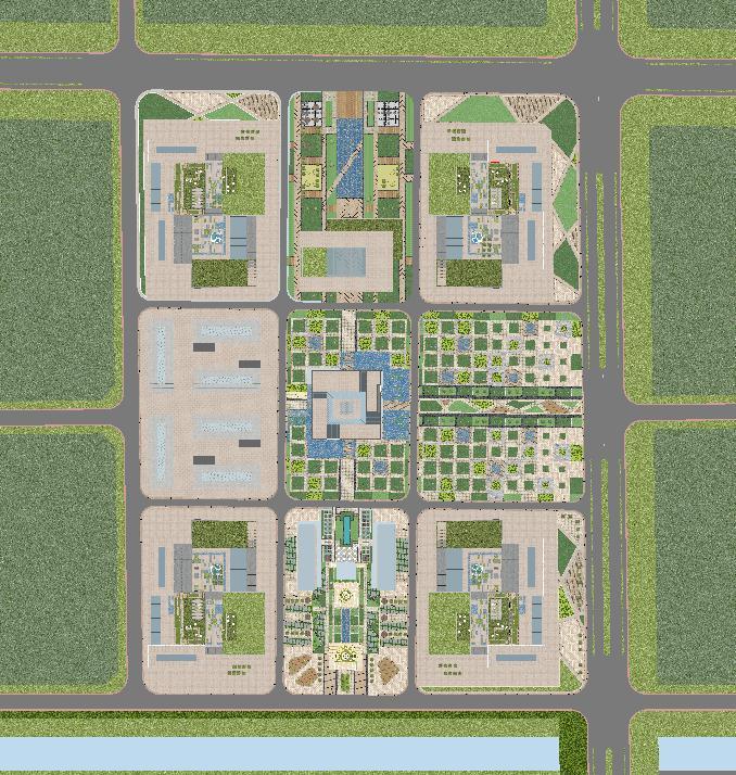 现代风格科技园办公区SU模型(6)