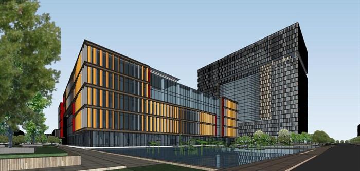 现代风格科技园办公区SU模型(7)
