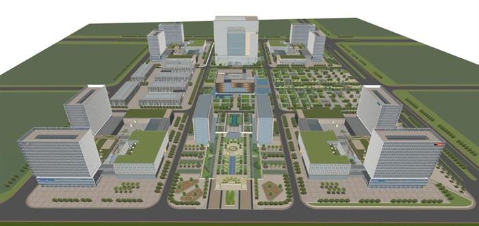 现代风格科技园办公区SU模型(10)