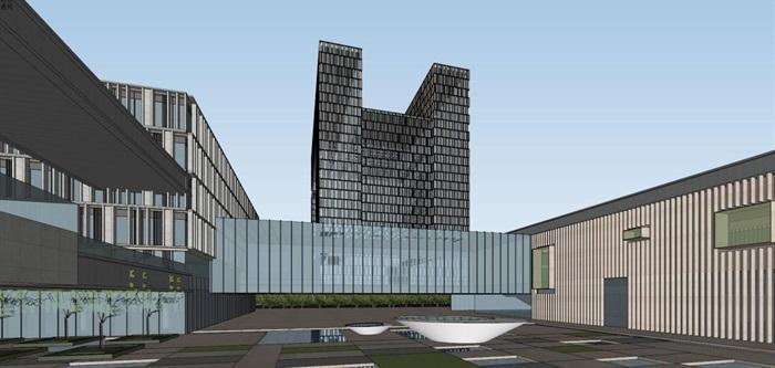 现代风格科技园办公区SU模型(11)