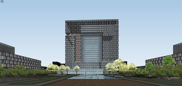 现代风格科技园办公区SU模型(12)