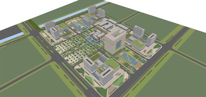 现代风格科技园办公区SU模型(14)