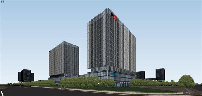 现代风格科技园办公区SU模型(15)