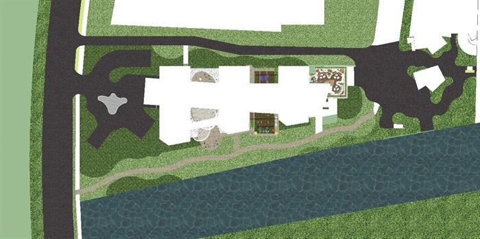 带屋顶花园办公楼景观设计方案SU模型(1)