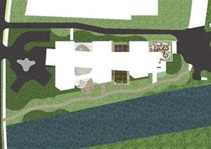 带屋顶花园办公楼景观设计方案SU(草图大师)模型