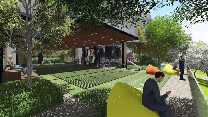 带屋顶花园办公楼景观设计方案SU模型(5)