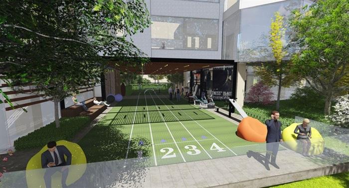 带屋顶花园办公楼景观设计方案SU模型(7)