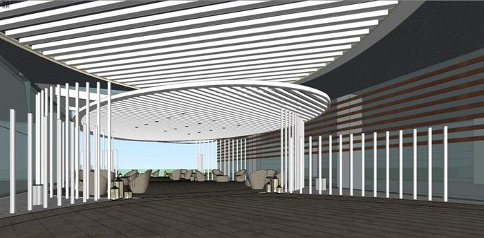 带屋顶花园办公楼景观设计方案SU模型(9)