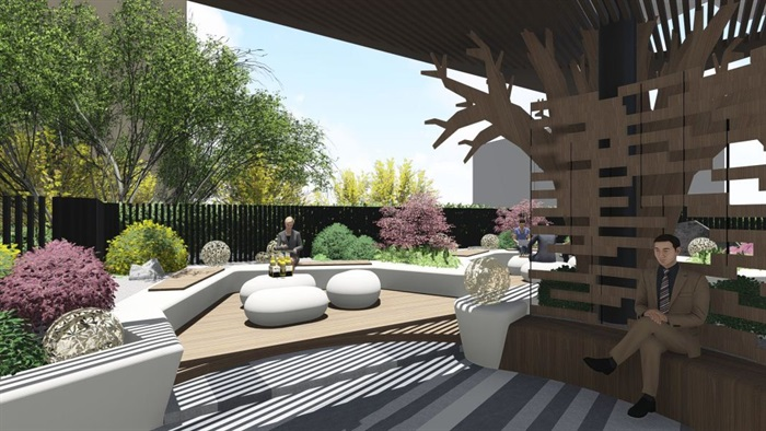 带屋顶花园办公楼景观设计方案SU模型(10)