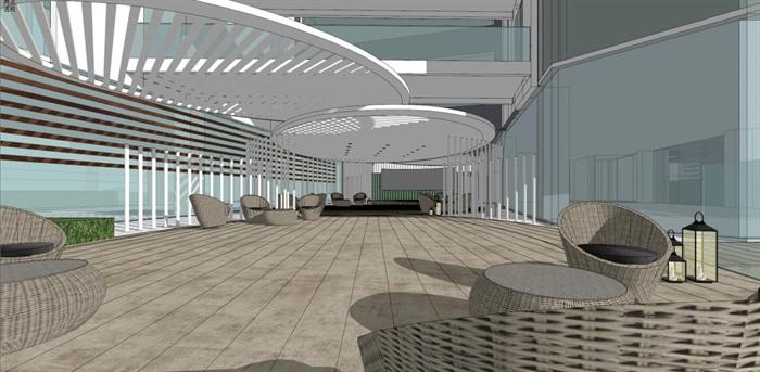 带屋顶花园办公楼景观设计方案SU模型(11)