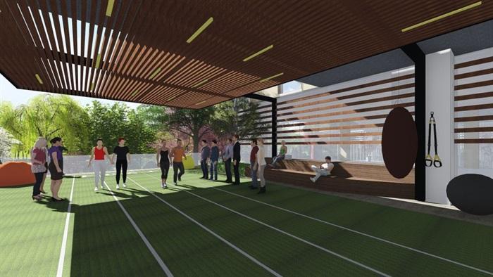带屋顶花园办公楼景观设计方案SU模型(13)