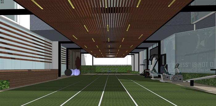 带屋顶花园办公楼景观设计方案SU模型(14)