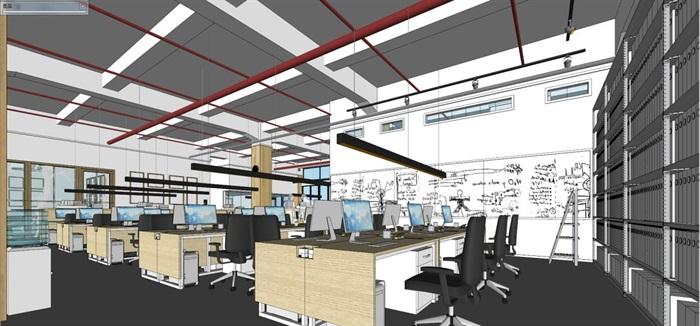 现代风格写字楼办公室装潢方案SU模型(1)