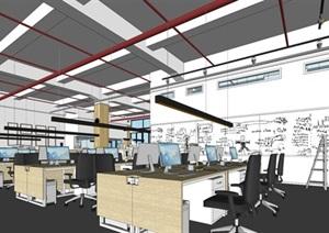 现代风格写字楼办公室装潢方案SU(草图大师)模型