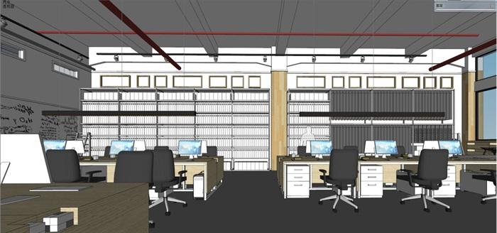 现代风格写字楼办公室装潢方案SU模型(3)