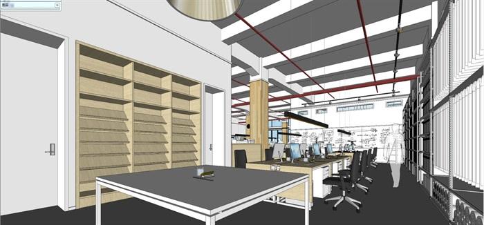 现代风格写字楼办公室装潢方案SU模型(4)