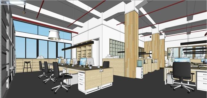 现代风格写字楼办公室装潢方案SU模型(5)