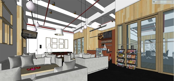 现代风格写字楼办公室装潢方案SU模型(6)