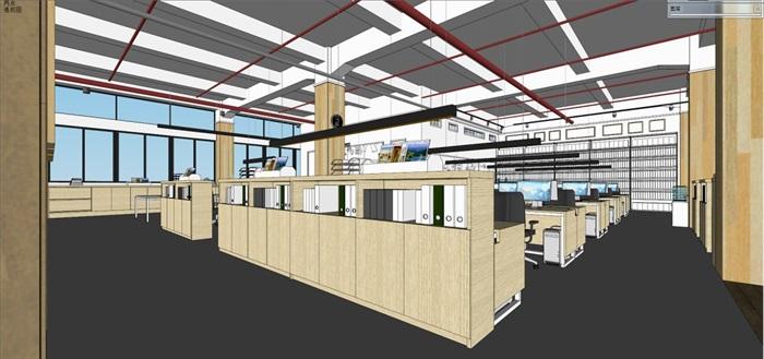 现代风格写字楼办公室装潢方案SU模型(9)