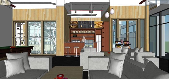 现代风格写字楼办公室装潢方案SU模型(10)
