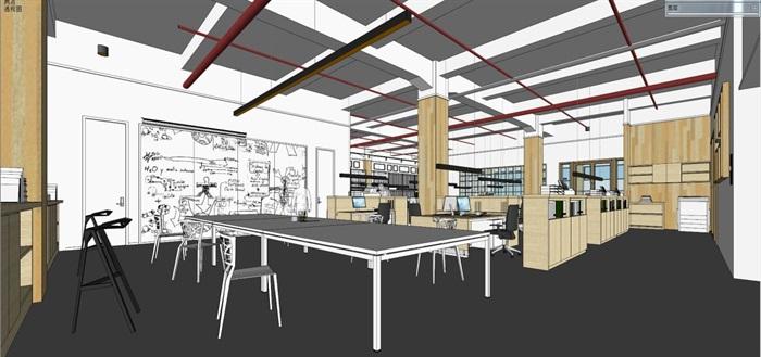现代风格写字楼办公室装潢方案SU模型(11)