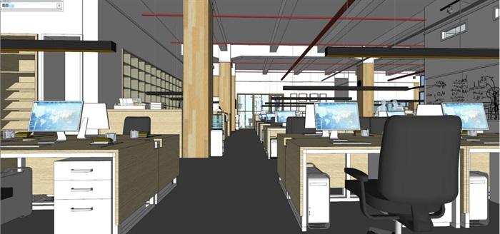 现代风格写字楼办公室装潢方案SU模型(12)