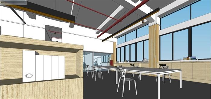 现代风格写字楼办公室装潢方案SU模型(13)