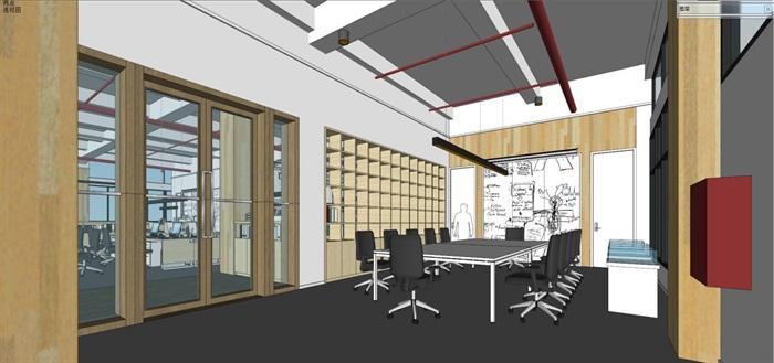 现代风格写字楼办公室装潢方案SU模型(15)