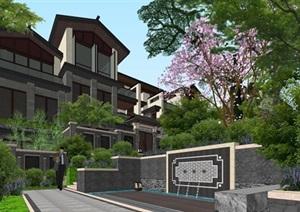 大理唐林恒新中式联排别墅与宅间景观设计方案SU(草图大师)模型