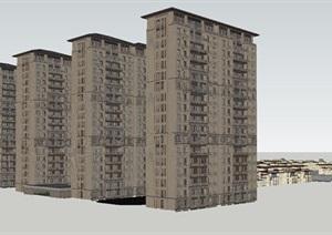 泰禾新中式高层 别墅项目SU(草图大师)模型
