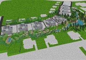 新中式別墅區景觀設計方案SU(草圖大師)模型